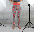 Pink Skulls & Grey Design Womens Spandex Leggings Gym Fitness Yoga Made In Uk