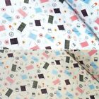 Quilters Sewing Threads Pins Needles Buttons 100% Cotton Poplin Fabric Patchwork