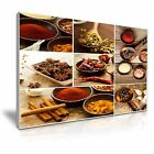 Indian Spice Herb Pepper Collage Canvas Framed Print Restaurant Deco