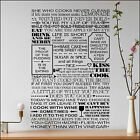 Extra Large Kitchen Wall Sticker Art All Quotes one place. Cut Matt Vinyl Decal