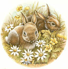 Ceramic Decals Bunny Rabbit Daisy Flowers Scene image
