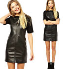 Sexy Women Spring Dress Knitted Leather Patchwork Black Dresses Casual Dress