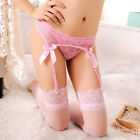 Women's Sexy Sheer Lace Thigh-Highs Stockings Garter Belt Suspender Set 4 Colors