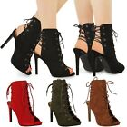 NEW WOMENS LADIES HIGH HEEL LACE UP PARTY SANDALS SEXY STILETTO ANKLE BOOTS SIZE