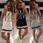 Casual Fashion Women Letter Print O Neck Short Sleeve Zipper Dress Tops Blouse