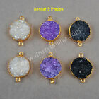5Pcs Gold Plated Round Titanium & Dyed Rainbow Druzy Agate Connector TG0766