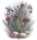 Ceramic Decals Southwest Hummingbird Bird Cactus Floral Scene image