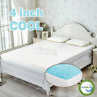 "4"" inch Cool Gel Memory Foam Mattress topper pad twin full queen king with cover"
