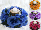 48 CANDLE RINGS with SILK ROSES Wedding Party Flowers for Centerpieces SALE
