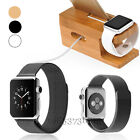 Wood Bamboo Charger Dock Holder+Milanese Watch Band for A pple Watch i Phone 7
