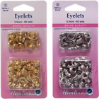 Hemline 60 x 5.5mm Eyelets Refill Pack Gold or Silver