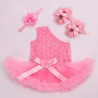 Toddler Baby Girls Tutu Dress Romper Suit 3pcs Skirt+Headband+Shoes Set Outfits
