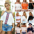Fashion Womens Lace Tops Tee Sexy Off Shoulder Shirt Casual Blouse Loose T-shirt