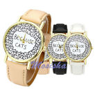 Mens Womens Lovely Cute Cat Pattern PU Leather Quartz Casual Wrist Watch Gift