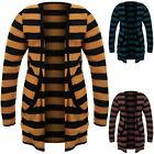 Girls Long Sleeve Light Thin Stripe Open Front Baggy Long Cardigan Childrens Top