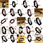 Vintage Multilayer Leather Cross Bracelet Cuff Charm Bangle For Men Women TBUS