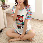 Cotton Owl Birthday Gift Pajamas Set Summer Women's Girl Clothing Sleepwear