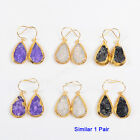 1Pair Drop Titanium AB Dyed Rainbow Agate Druzy Gold Plated Earrings NEW HG0819