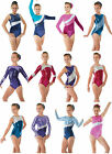Metallic Gymnastics Leotards Lycra Velvet Gym Leotards Girls Dance Show UK Made...