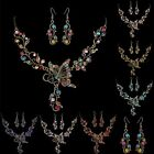 Retro Elegant Butterfly Flower Rhinestone Pendant Necklace Earrigs Jewelry Set