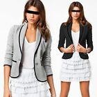 LADIES SMART FITTED BLAZER WOMENS SUIT JACKET CASUAL OFFICE TOP UK 8-18