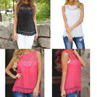 Women Summer Vest Top Sleeveless Blouse Lace Casual Tank Tops T-Shirt New