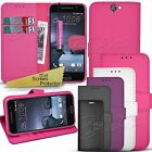 For HTC ONE A9 - Wallet Leather Case Carbon Flip Book Cover + Screen Protector