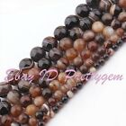 "Round Smooth Stripe Brown Aagte Gemstone For Jewelry Making Beads 15"" 6mm 8mm"
