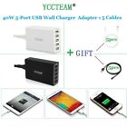 US Plug 40W 5 Ports 5V 8A USB Multi Adapter Travel Wall AC Power Charger+5 Cable