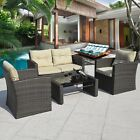 Choose 4pc Rattan Sofa Furniture Set Patio Garden Lawn Cushioned Seat Wicker