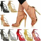 Womens Ladies High Heel Barely There Ankle Strappy Peep Toe Party Sandals Size