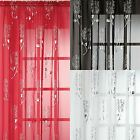 CHRISSY FLORAL METALLIC VOILE CURTAIN PANEL SILVER FOIL READY MADE PANELS