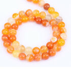 1Bunch New Orange Agate Round Spacer Loose Beads 4/6/8/10/12mm Hole Size 1.5-3mm