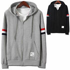 Mens Luxury Hoodie Jacket Cardigan Sweater Jumper Blazer Top Zip-Up W144 - S/M