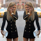 Fashion Womens Dress Slim Long Sleeve Buttons Casual Bodycon Cocktail Mini Dress