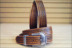 JUSTIN TOOLED WESTERN LEATHER MAN'S BELT BROWN W/ SILVER ENGRAVED BUCKLE