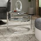 Eterntity Black Or Clear Glass Coffee Table/Side Table With Swivel Motion-CT11