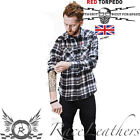 RED TORPEDO V TWIN CHECK CHEQUERED MENS CASUAL SHIRT BLACK