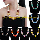 New Women's Fashion Sky blue Rope Resin Vintage Jewelry Pendant Choker Necklace