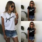 New Summer Womens Letters Printed Short Sleeve Casual Loose T Shirt Tops Blouse