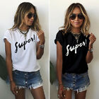New Womens Ladies Summer Letter Short Sleeve Blouse Casual Tops T-Shirt HN