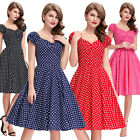 BP Womens Retro Vintage Party Evening Dress1950s 60s Housewife Dots Cotton Mini