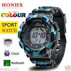 Mens Boys LED Digital Alarm Date Rubber Army Watch Waterproof Sport Wristwatch