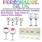 Vinyl Stickers for Glasses, Tumblers, Shot Glasses -  From £1.75