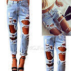 UK Women Destroyed Ripped Distressed Slim Denim Pants Boyfriend Jeans Trousers