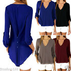 Womens Loose Long Sleeve Blouse Chiffon Top Shirt Sexy V-Neck T-shirt Size S-3XL