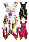 Girls 100% Cotton Asymmetric Hem Vibrant Gypsy Dress New Kids Dresses 2-12 Years