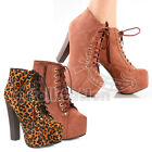Breckelle's BRITNEY-01W Women's Lace Up Zipper Chunky Heel Platform Ankle Boots