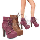 Breckelle Britney-17 Women High Heel Buckle Leatherette Lace Up Platform Boots