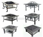 FoxHunter Garden Steel Fire Pit Firepit Brazier Square Patio Heater Stove BBQ